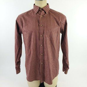 LL Bean Mens Red Plaid Pocket Button Front Shirt S